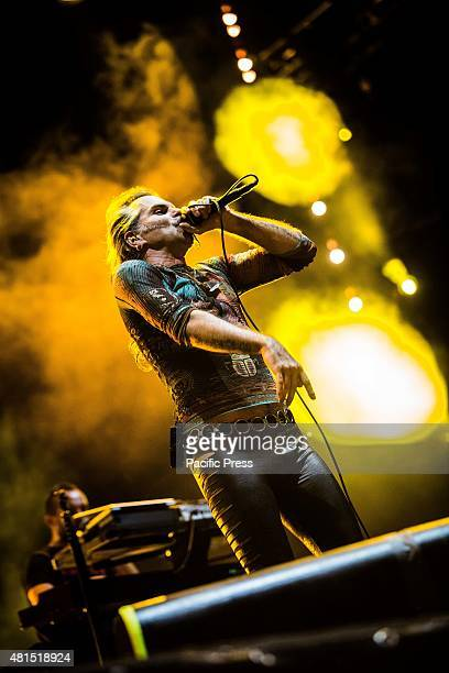 Piero Pelu' of the rock band Litfiba pictured on stage as they perform at Moon And Stars in Locarno Switzerland