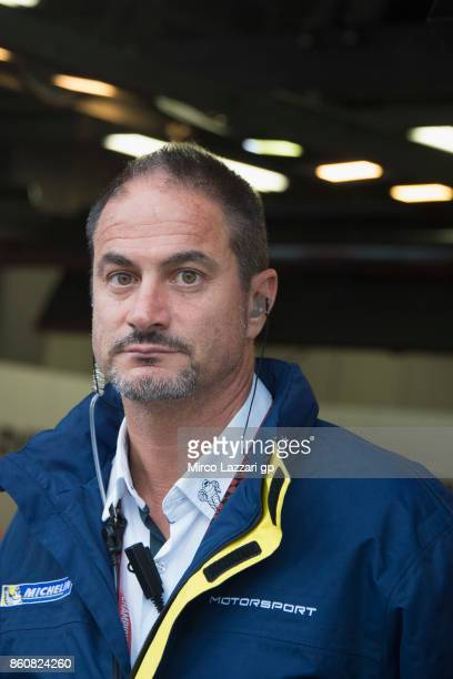 Piero Taramasso of Italy Michelin Manager looks on in box during the MotoGP of Japan Free Practice at Twin Ring Motegi on October 13 2017 in Motegi...