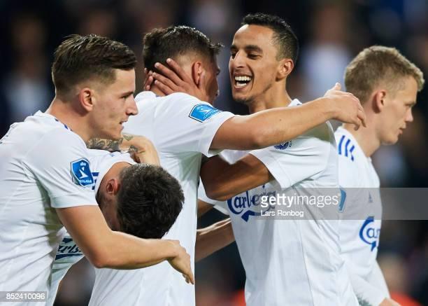 Pieros Sotiriou and Carlos Zeca of FC Copenhagen celebrate after scoring their third goal during the Danish Alka Superliga match between FC...