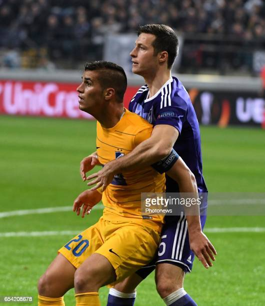 Pieros Sotiriou of Apoel and Uros Spajic defender of RSC Anderlecht pictured during the match between Rsc Anderlecht and Apoel Nicosia UEFA Europa...
