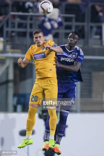 Pieros Sotiriou of Apoel FC Serigne Mbodji of RSC Anderlechtduring the UEFA Europa League round of 16 match between RSC Anderlecht and APOEL on March...