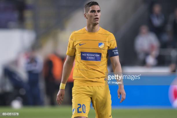 Pieros Sotiriou of Apoel FCduring the UEFA Europa League round of 16 match between RSC Anderlecht and APOEL on March 16 2017 at Constant Vanden Stock...