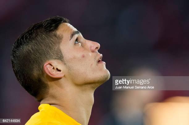 Pieros Sotiriou of Apoel Nicosia FC looks on prior to the start the UEFA Europa League Round of 32 first leg match between Athletic Bilbao and APOEL...