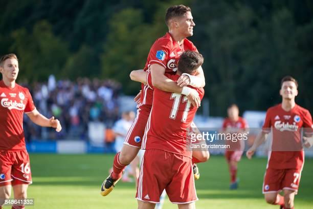 Pieros Sotiriou of FC Copenhagen and Andrija Pavlovic of FC Copenhagen celebrate after the 02 goal from Andrija Pavlovic during the Danish Alka...