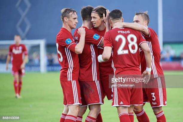 Pieros Sotiriou of FC Copenhagen and teammates celebrate after his 04 goal during the Danish Alka Superliga match between FC Helsingor and FC...