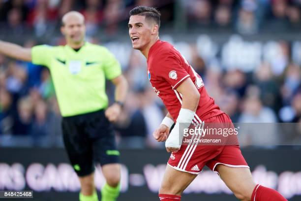 Pieros Sotiriou of FC Copenhagen celebrate after his 01 goal during the Danish Alka Superliga match between FC Helsingor and FC Copenhagen at...
