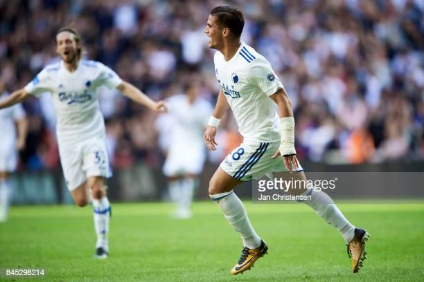Pieros Sotiriou of FC Copenhagen celebrate after his 10 goal during the Danish Alka Superliga match between FC Copenhagen and FC Midtjylland at Telia...