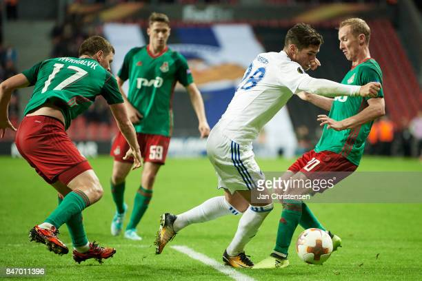 Pieros Sotiriou of FC Copenhagen compete for the ball during the UEFA Europa League Group Stage match between FC Copenhagen and Lokomotiv Moskva at...
