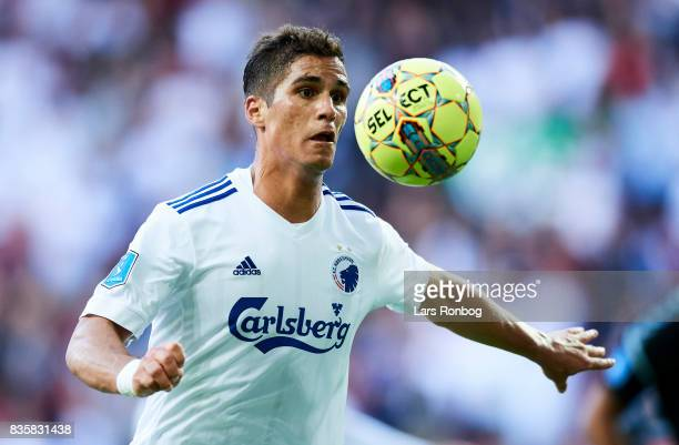 Pieros Sotiriou of FC Copenhagen controls the ball during the Danish Alka Superliga match between FC Copenhagen and Sonderjyske at Telia Parken...