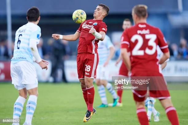 Pieros Sotiriou of FC Copenhagen controls the ball during the Danish Alka Superliga match between FC Helsingor and FC Copenhagen at Helsingor Stadion...