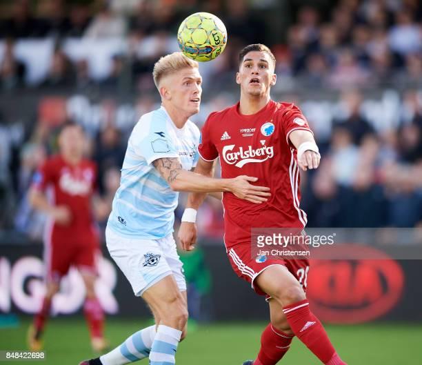 Pieros Sotiriou of FC Copenhagen in action during the Danish Alka Superliga match between FC Helsingor and FC Copenhagen at Helsingor Stadion on...