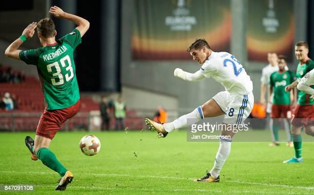 Pieros Sotiriou of FC Copenhagen in action during the UEFA Europa League Group Stage match between FC Copenhagen and Lokomotiv Moskva at Telia Parken...