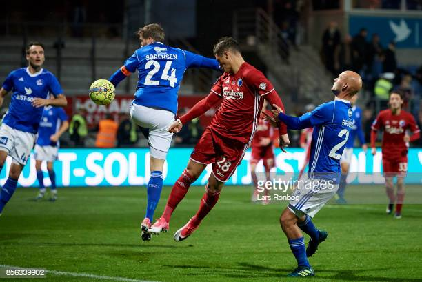 Pieros Sotiriou of FC Copenhagen scores the 12 goal during the Danish Alka Superliga match between Lyngby BK and FC Copenhagen at Lyngby Stadion on...