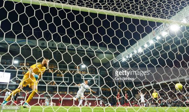 Pieros Sotiriou of FC Copenhagen scores the 41 goal on a penalty against Goalkeeper Filip Gacevski of FK Vardar Skopje during the UEFA Champions...