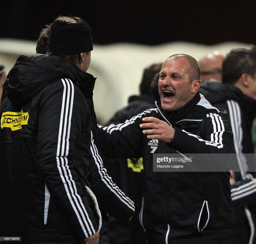 Pierpaolo Bisoli head coach of AC Cesena celebrates after the Serie B match between Reggina Calcio and AC Cesena at Stadio Oreste Granillo on March 15, 2013 in Reggio Calabria, Italy.