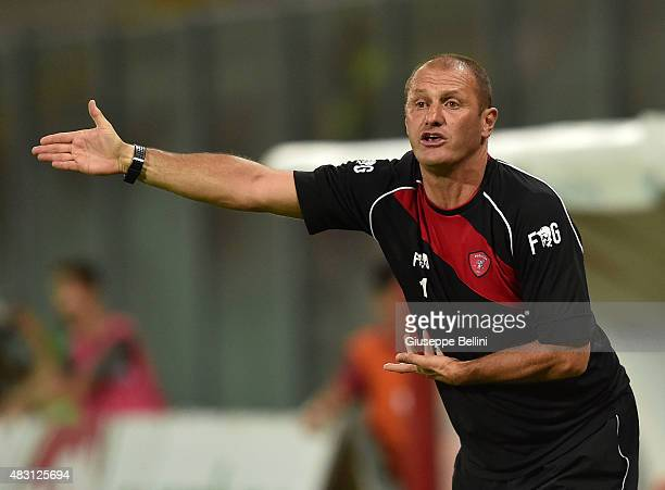 Pierpaolo Bisoli head coach of Perugia during the preseason friendly match between AC Perugia and Carpi FC at Stadio Renato Curi on August 1 2015 in...