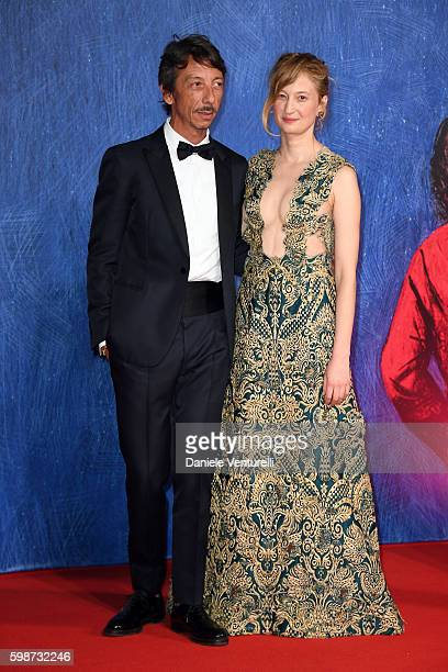 Pierpaolo Piccioli and Alba Rohrwacher attend the premiere of 'Franca Chaos And Creation' during the 73rd Venice Film Festival at Sala Giardino on...