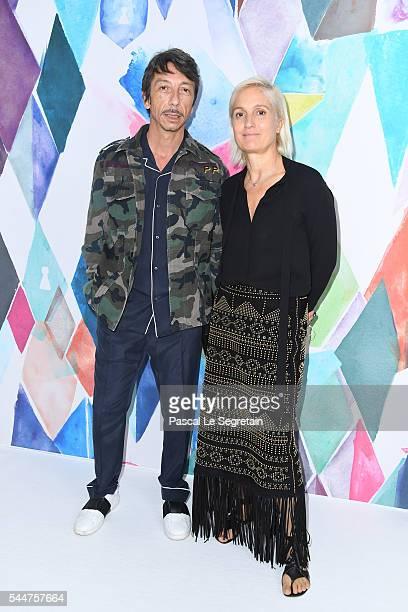 Pierpaolo Piccioli and Maria Grazia Chiuri attend the Schiaparelli Haute Couture Fall/Winter 20162017 show as part of Paris Fashion Week on July 4...