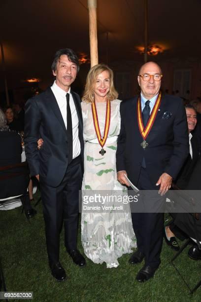 Pierpaolo Piccioli Francesca Lo Schiavo and Dante Ferretti attend McKim Medal Gala at Villa Aurelia on June 7 2017 in Rome Italy