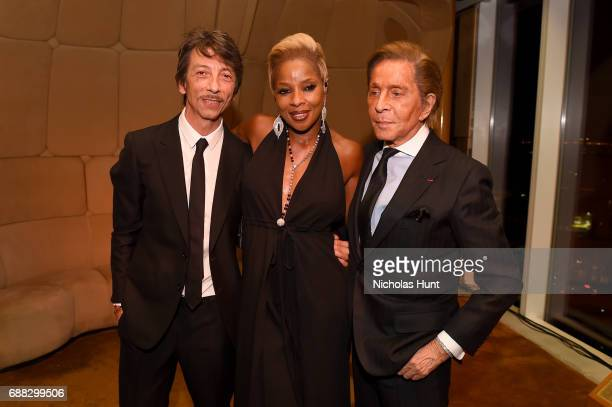 Pierpaolo Piccioli Mary J Blige and Valentino Garavani attend the Valentino Resort 2018 Runway Show After Party at the Boom Boom Room on May 23 2017...