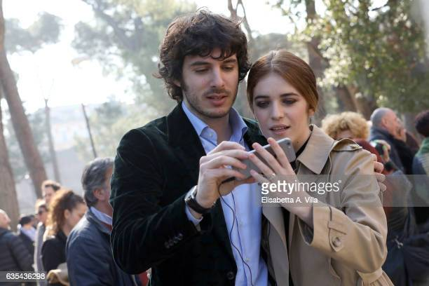 Pierpaolo Spollon and Valentina Romani attend a photocall for 'La Porta Rossa' fiction Rai at Villa Borghese on February 15 2017 in Rome Italy