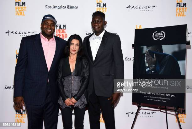 Pierra Valmera Leyla Nedorosleva and Pierre Joseph attend the screening of 'Two Four Six' during the 2017 Los Angeles Film Festival at Arclight...