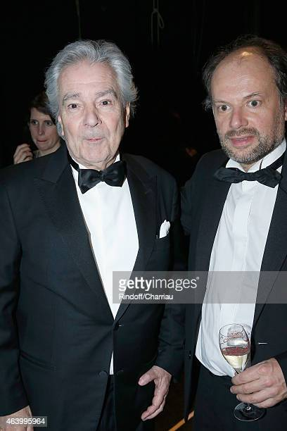 Pierre Arditi and Denis Podalydes pose backstage during the 40th Cesar Film Awards 2015 at Theatre du Chatelet on February 20 2015 in Paris France