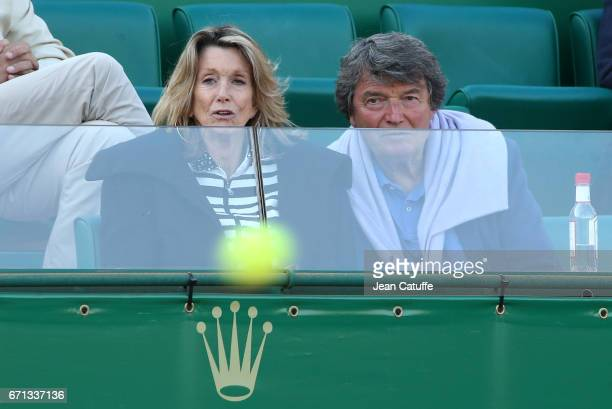 Pierre Barthes and his wife Caroline Barthes attend day 6 of the MonteCarlo Rolex Masters an ATP Tour Masters Series 1000 on the clay courts of the...