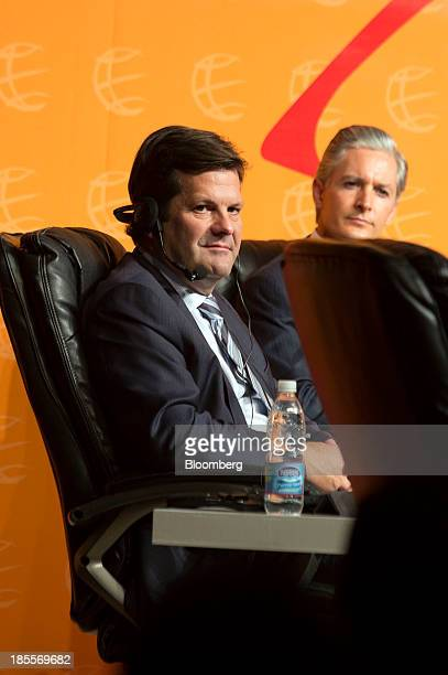 Pierre Beaudoin chief executive officer of Bombardier Inc left and Alfredo del Mazo Maza chief executive officer of development bank Banobras listen...