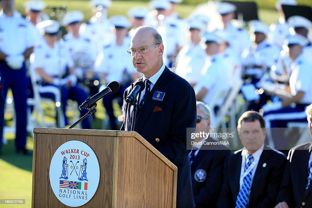 Pierre Bechmann the Captain of the R&A speaking during the Opening Ceremony as a preview for the 2013 Walker Cup Match at National Golf Links of America on September 6, 2013 in Southampton, New York.