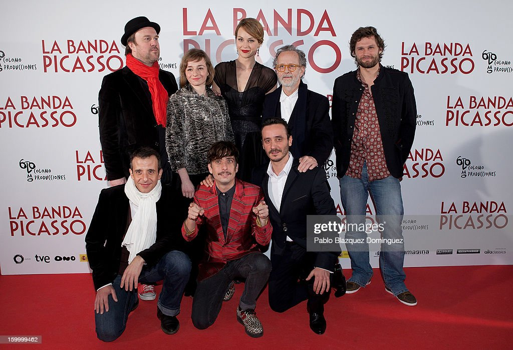 Pierre Benezit, Eszter Tompa, Raphaelle Agogue, Fernando Colomo and Alexis Michalik (front row, L-R) David Coburn, Jordi Vilches and other member of the cast attends 'La Banda Picasso' Premiere at Capitol Cinema on January 24, 2013 in Madrid, Spain.