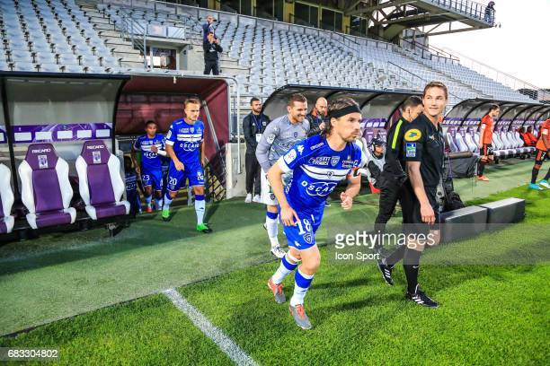 Pierre Bengtsson Jean Louis Leca and Yannick Cahuzac of Bastia during the Ligue 1 match between SC Bastia and FC Lorient on May 14 2017 in Istres...