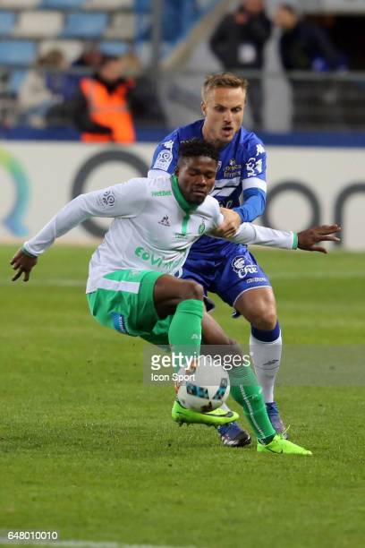 Pierre BENGTSSON of Bastia and JORGINHO of Saint Etienne during the French Ligue 1 match between Bastia and Saint Etienne at Stade Armand Cesari on...