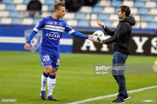 Pierre BENGTSSON of Bastia and the coach Rui Almeida during the French Ligue 1 match between Bastia and Saint Etienne at Stade Armand Cesari on March...