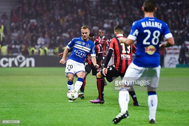 Pierre Bengtsson of Bastia during the French Ligue 1 match between Nice and Bastia at Allianz Riviera on November 27 2016 in Nice France