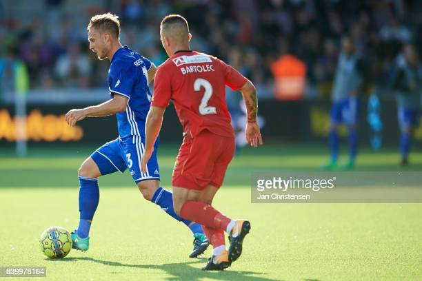 Pierre Bengtsson of FC Copenhagen and Karlo Bartolec of FC Nordsjalland compete for the ball during the Danish Alka Superliga match between FC...