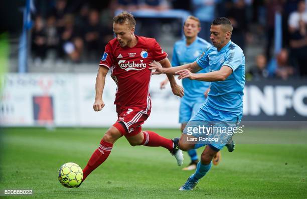 Pierre Bengtsson of FC Copenhagen and Nikola Djurdjic of Randers FC compete for the ball during the Danish Alka Superliga match between Randers FC...