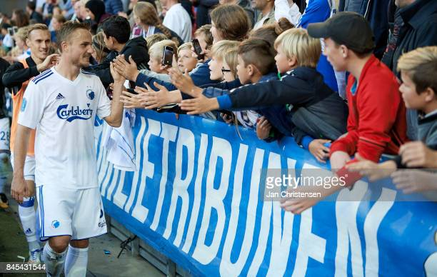 Pierre Bengtsson of FC Copenhagen celebrating with fans after the Danish Alka Superliga match between FC Copenhagen and FC Midtjylland at Telia...