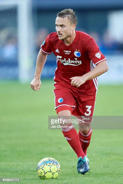 Pierre Bengtsson of FC Copenhagen controls the ball during the Danish Alka Superliga match between FC Helsingor and FC Copenhagen at Helsingor...