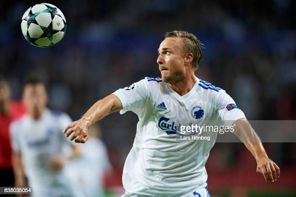 Pierre Bengtsson of FC Copenhagen in action during the UEFA Champions League Playoff 2nd Leg match between FC Copenhagen and Qarabag FK at Telia...