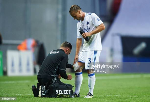 Pierre Bengtsson of FC Copenhagen injured after the UEFA Champions League Qualification match between FC Copenhagen and MSK Zilina at Telia Parken...