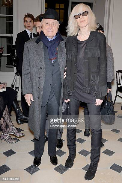 Pierre Berge and Betty Catroux attend the Saint Laurent show as part of the Paris Fashion Week Womenswear Fall/Winter 2016/2017 on March 7 2016 in...
