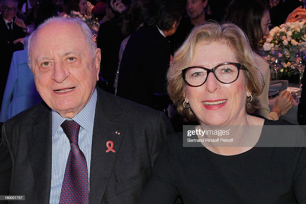 Pierre Berge (L) and French Research Minister, Genevieve Fioraso, attend the Sidaction Gala Dinner 2013 at Pavillon d'Armenonville on January 24, 2013 in Paris, France.