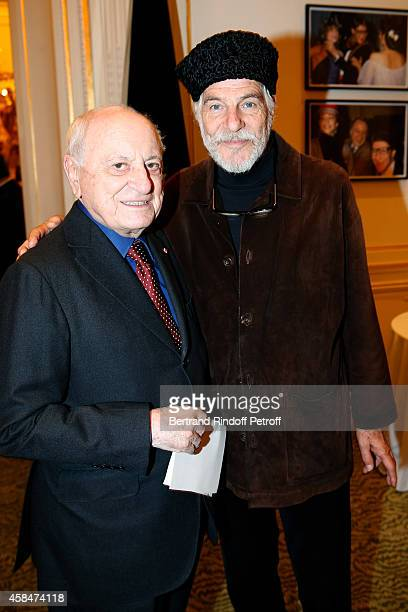 Pierre Berge and Husband of Loulou de la Falaise Thadee Klossowski de Rola attend the 'Loulou de la Falaise' book signing Held at the Fondation...