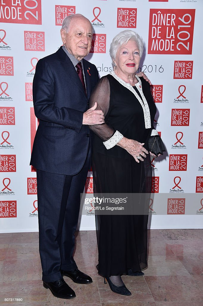 Pierre Berge and Line Renaud attend the Sidaction Gala Dinner 2016 as part of Paris Fashion Week on January 28 2016 in Paris France