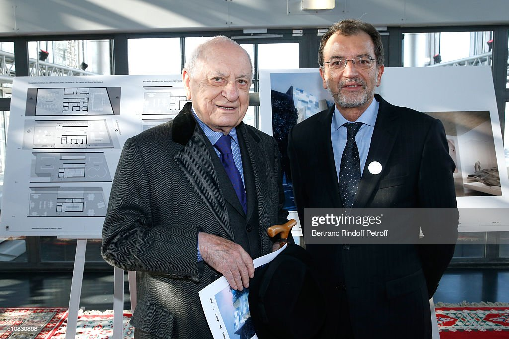<a gi-track='captionPersonalityLinkClicked' href=/galleries/search?phrase=Pierre+Berge&family=editorial&specificpeople=770934 ng-click='$event.stopPropagation()'>Pierre Berge</a> and Moroccan Minister of Culture Mohammed Amine Sbihi attend King Mohammed VI of Morocco and French President Francois Hollande present the project to create a Cultural Center of Morocco in 'Saint-Germain des Pres'. Held at Institut du Monde Arabe on February 17, 2016 in Paris, France.