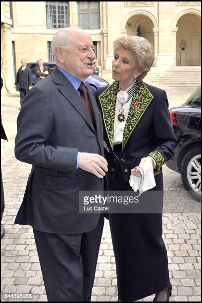 Pierre Berge and Permanent Secretary of the 'French Academy' Helene Carrere d'Encausse attend the Ceremony of Inclusion of Simone Veil at the 'French...