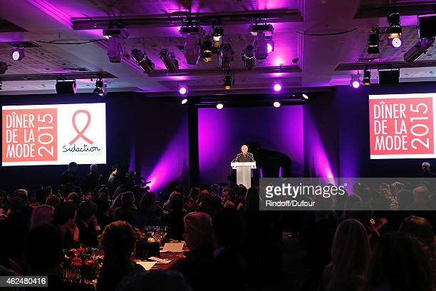 Pierre Berge attends the Sidaction Gala Dinner 2015 at Pavillon d'Armenonville on January 29 2015 in Paris France