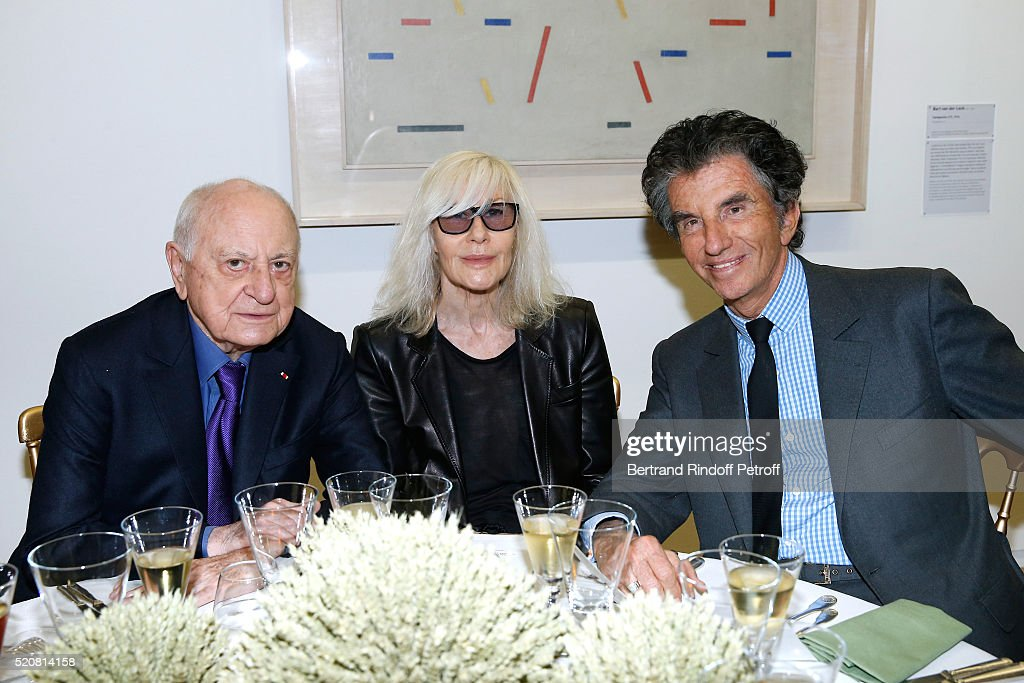 Pierre Berge, Betty Catroux and Jack lang attend the Societe des Amis du Musee d'Art Moderne du Centre Pompidou : Dinner Party. Held at Centre Pompidou on April 12, 2016 in Paris, France.