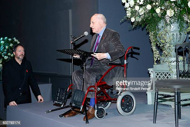 Pierre Berge presents the Sidaction Gala Dinner 2017 Haute Couture Spring Summer 2017 show as part of Paris Fashion Week on January 26 2017 in Paris...